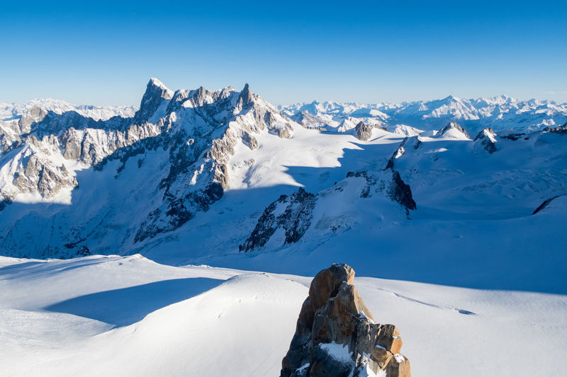 Rochefort Ridge, including the peaks of Grandes Jorasses, Dent du Géant and Aiguille de Rochefort, is part of the Mont Blanc Massif mountain range that borders mainly France and Italy and partly Switzerland. This view is from the Aiguille Du Midi, Chamonix, France. Aiguille De Rochefort Alps Chamonix Cold Temperature Dent Du Geant France Grandes Jorasses Haute Savoie Mont Blanc Mont Blanc Massif Mountain Mountain Peak Mountain Range Rhône-Alpes Rochefort Ridge Snow Winter Lost In The Landscape