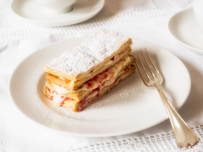 Dessert Food Homemade Cake Indulgence Millefeuille Plate Ready-to-eat Slice Of Cake Sweet Food Temptation Unhealthy Eating