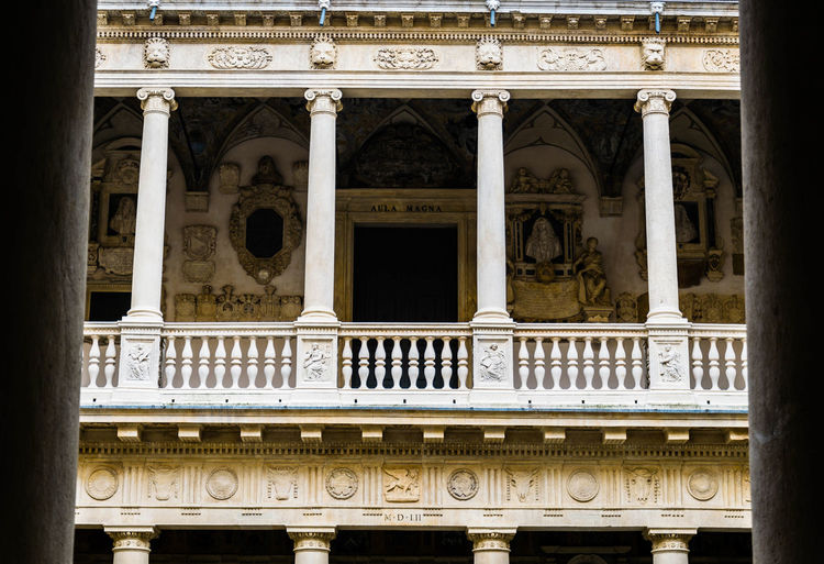 Architecture No People Built Structure History The Past Building Exterior Architectural Column Day Low Angle View Old Outdoors Communication Building Text Travel Destinations Railing Abandoned Window Arts Culture And Entertainment Ornate Palazzo Bo Padova