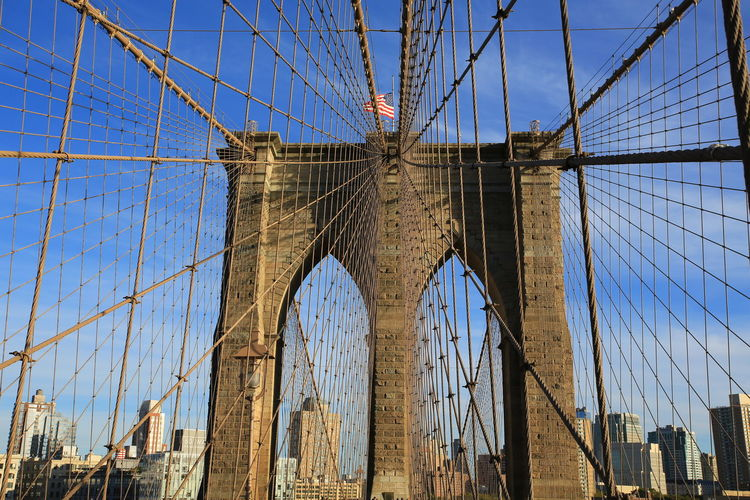 Bridge - Man Made Structure Built Structure Travel Destinations Connection Architecture Low Angle View Bridge Tourism Travel City New York City Brooklyn Bridge / New York USA Travel Manhattan