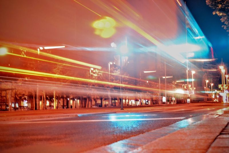 City lights Illuminated Night Long Exposure Transportation Blurred Motion Light Trail Motion Road Speed Outdoors Architecture Built Structure No People Building Exterior City High Street Sky Exposure Longexposure Red Lights Ref Light Mobility In Mega Cities