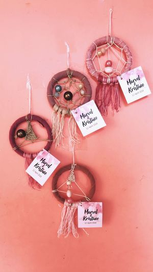 Dreamcatchers on my pink wall Giveaways Wedding Dreamcatcher Celebration Indoors  No People Decoration Art And Craft Creativity Pink Color