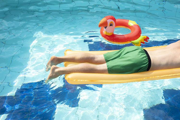 Full length of shirtless man in swimming pool