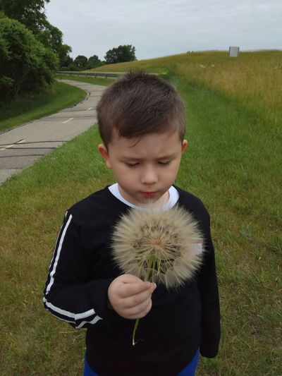 Boy holding dandelion while standing on grassy field