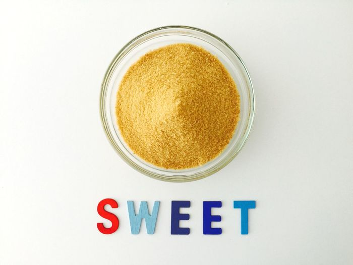 SWEET! Brown Sugar Sugar Sweet White Background Text Food And Drink Directly Above Freshness Close-up Dessert Raw Ingredient Baking Cooking