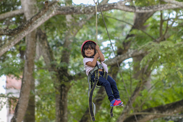 Low Angle View Of Girl On Zip Line Against Tree