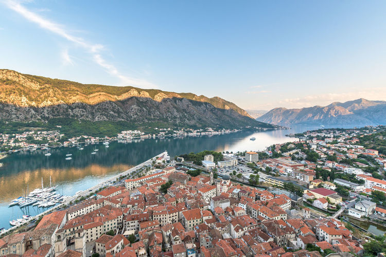 View into the Kotor Bay, Montenegro Kotor Bay Travel Architecture Beauty In Nature Building Building Exterior Built Structure City Day High Angle View Kotor Lake Montenegro Mountain Mountain Range Nature No People Outdoors Residential District Scenics - Nature Sky TOWNSCAPE Tranquil Scene Tranquility Water