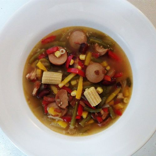 soup with sausage different vegetables and beans in a white plate Stew Soup Vegetables Paprika Beans Sausage Stew White Plate Healthy Warm Hot Winter Colirful Different Variation Corn Maize Tasty Delicious Food And Drink Food Directly Above Ready-to-eat Fruit Healthy Eating Indoors  Freshness Appetizer Close-up