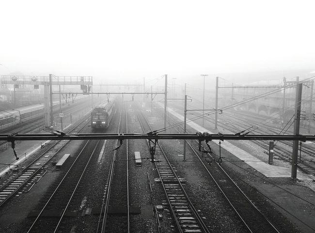 Train Fog Transportation Blackandwhite