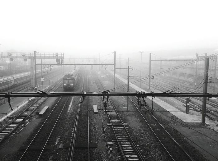 Train Fog Transportation Blackandwhite