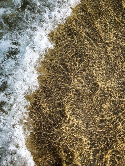 Sandy Beach Sea Backgrounds Full Frame Pattern No People Close-up Water Day Bubble Gold Colored Abstract