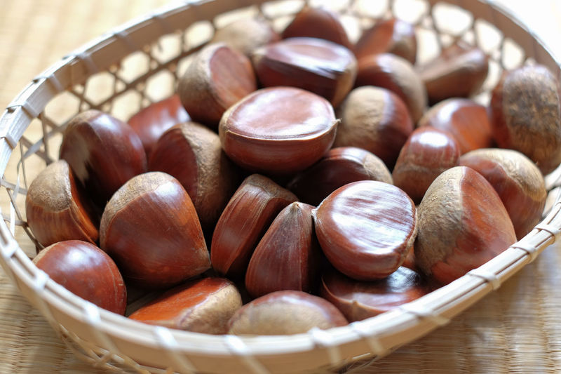 Japanese chestnut in a basket Shinichi Hatamoto Food Still Life Snack Container Table Food And Drink Brown Indoors  Nut Basket Freshness Bowl Close-up Healthy Eating No People Abundance High Angle View Large Group Of Objects Nut - Food Chestnut - Food Japanese Food