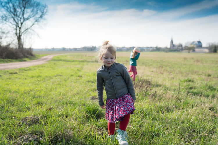 Beautiful day for a walk Blond Hair Child Two People Walking Family Childhood People Carefree Rural Scene Nature Grass Outdoors Day Cute Walking Around Girl Sky And Clouds Sunny Family❤