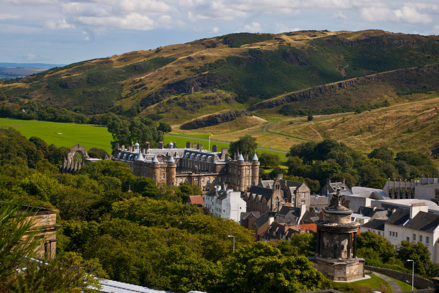 Calton Hill Architecture Building Exterior Built Structure Cloud - Sky Day History Mountain Mountain Range Nature No People Outdoors Palace Of Holyroodhouse Scenics Sky Tree Water