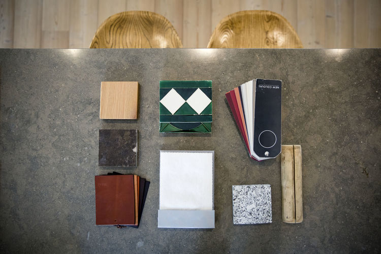 High angle view of paper on table