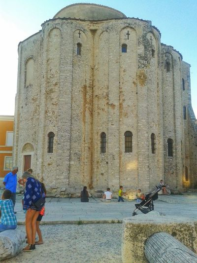Ancient Architecture Built Structure Church City Life Day History Leisure Activity Medium Group Of People Outdoors Sky St. Donat Zadar Sunlight The Past Tourism Travel Destinations Unrecognizable Person Vacations