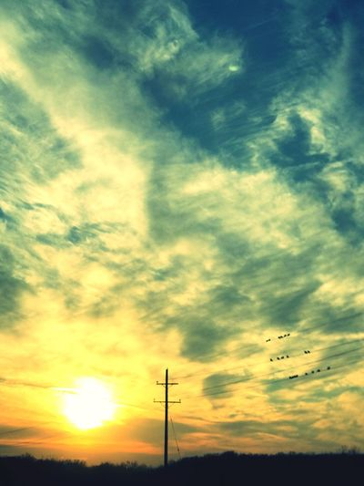 Sunset. Sunset Sky No People Nature Power Line  Beauty In Nature