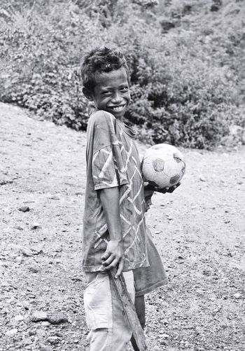 Football Fever alone but not alone. This ball can be used by more than 20 boys because they dont have many balls to share. They will play carefully in order to keep the ball still ok for long time. Ball is not so expensive there, but to buy the ball they need to go far away by bus or wooden truck to reach the shop. HUMANITY Flores INDONESIA Mbay