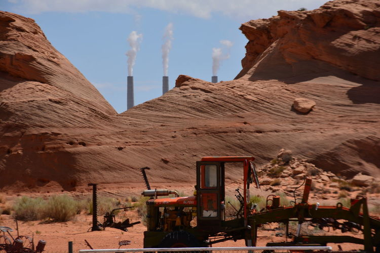 Architecture Building Exterior Built Structure Cloud - Sky Co2 Day Navajo No People Outdoors Power Station Rock Formation Salt River Project-Navajo Generating Station Sky Tourism Tractor