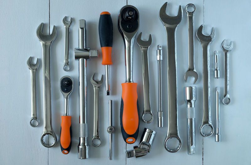 Close-up of tools in row