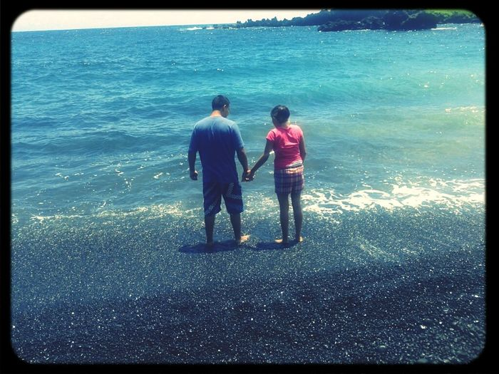 Love Couple Hawaii Black Sand Beach Me And My Baby <3