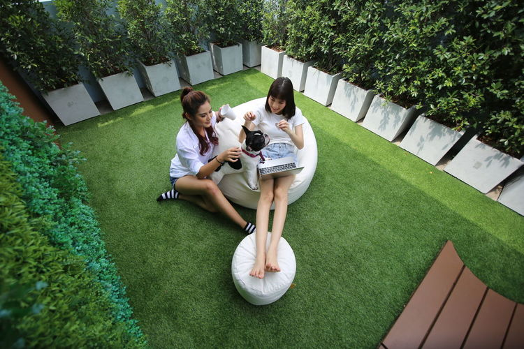 Plant Full Length Togetherness Young Adult Grass Leisure Activity Real People Women Casual Clothing Lifestyles Two People Sitting Day High Angle View Adult Young Women Green Color People Bonding Nature Outdoors