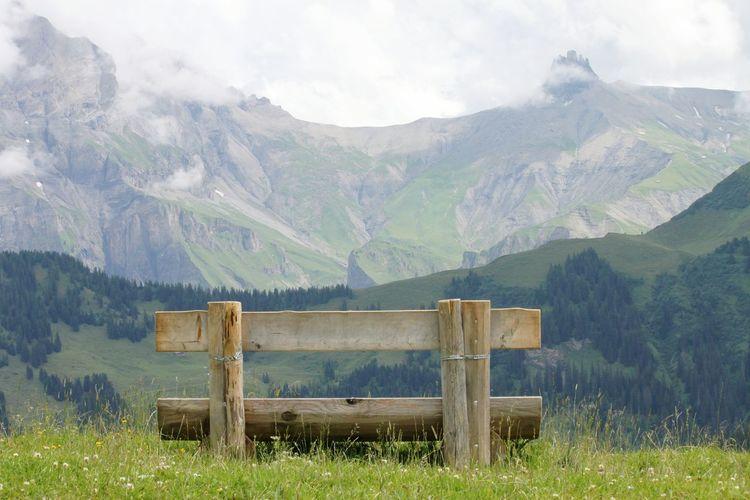 Mountain Berge Aussicht Bank Relaxing Entspannung Erholung Berner Oberland Adelboden Schweiz Schweiz 🇨🇭, Schweizer Alpen HJB Seating Seating Bench