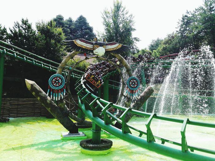 Rollercoaster Gardalandpark Shaman Water Sky Green Color