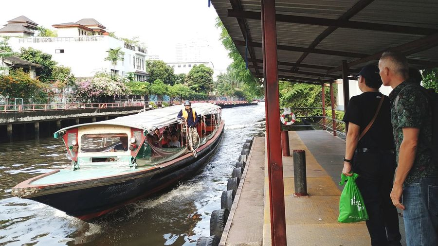 Saen-saeb canal have express boat service in Bangkok Water Nautical Vessel Tree Men Cleaning City Working Standing Sky Boat Water Vehicle