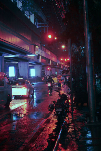 City Illuminated Wet Car Street City Street City Life Rain Architecture Building Exterior