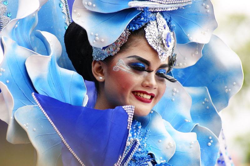 Young Women Portrait Smiling Tiara Blue Beautiful Woman Happiness Headshot Looking At Camera Headdress