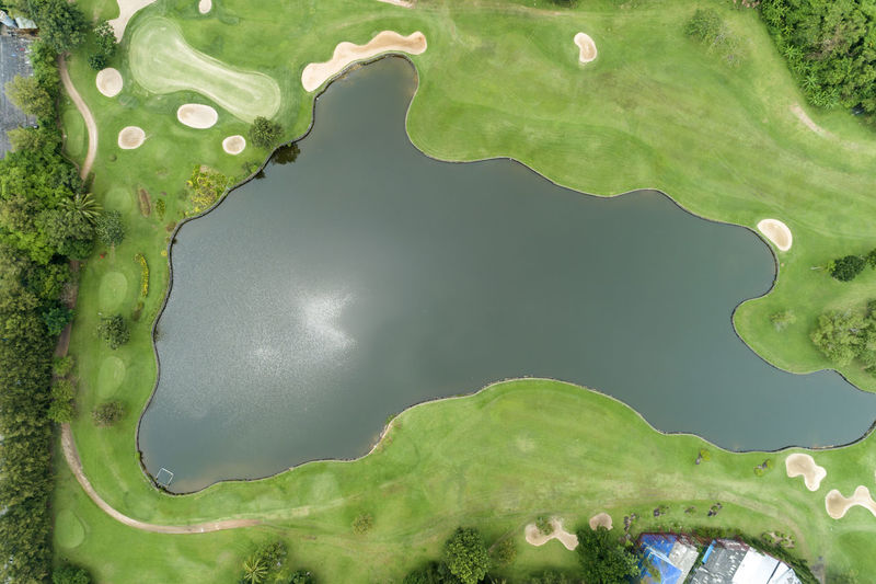 Aerial view of lake at golf course