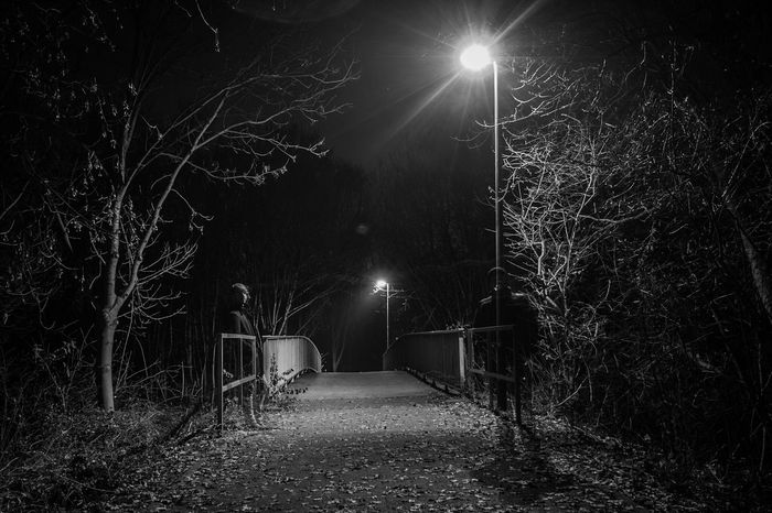 ~ The Guardians ✴ ~ Night Illuminated Tree Branch Outdoors Nature Midnight Getting Inspired Street Photography Light And Shadow Low Angle View Monochrome Black & White Canonphotography Cold Temperature Warm Clothing Shadow Long Exposure Bridge People Watching People Phantom Shadows & Lights Blackandwhite Black And White