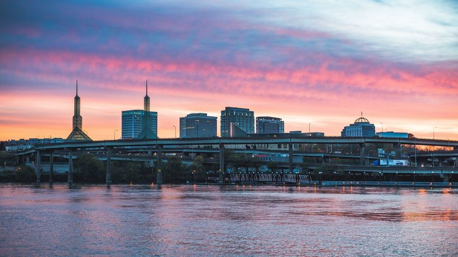 Portland Sunrise Architecture Sky Water Cloud - Sky Sunrise Cityscape City Urban Skyline Bridge Downtown Portland Oregon Portland, OR EyeEmNewHere