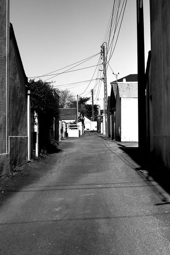 Architecture Black And White Black And White Photography Blackandwhite Building Exterior Built Structure Canon Clear Sky Day Electricity Pylon No People Outdoors Road Shadows & Lights Street Telephone Line The Way Forward