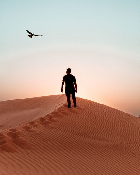 Full length of man standing on sand with bird flying in sky