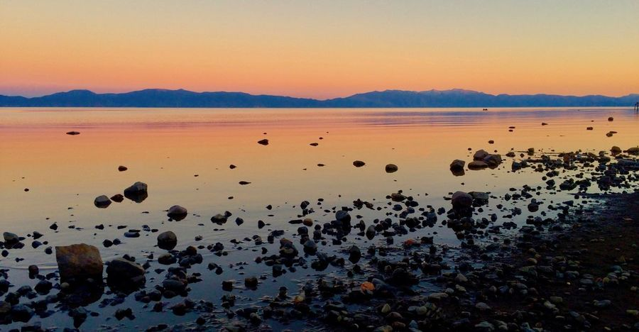 Beach Beauty In Nature Idyllic Lake Tahoe Nature No People Non-urban Scene Outdoors Reflection Rock Scenics - Nature Sky Sunset Tahoe Tranquil Scene Tranquility Water