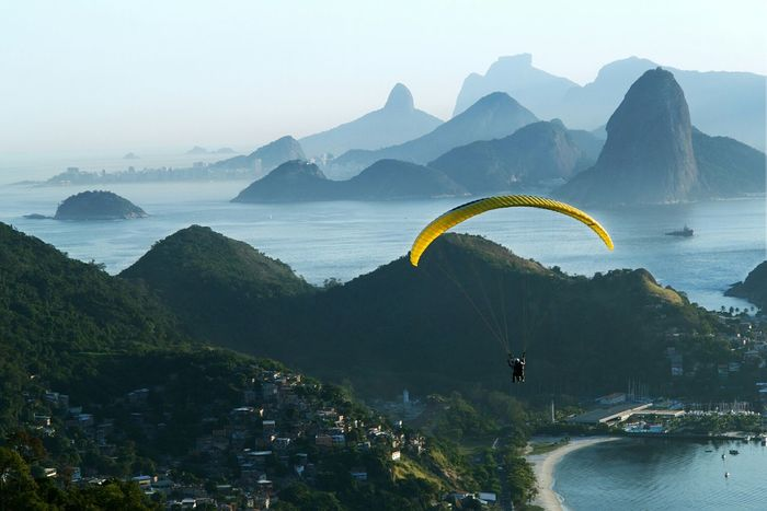 Paragliding Action Sports Mountain Landscape Landscape Photography People Having Fun Flying High Mountain View Edge Of The World Genuine Brazil Images