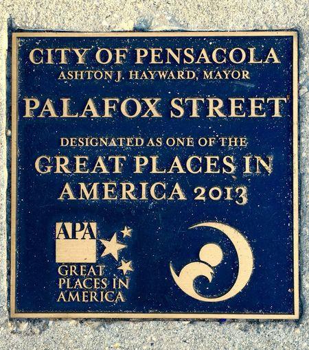 Palafox Street, Pensacola, Florida Great Places Information Sign Outdoors Palafox Street Sidewalk Sign Signs