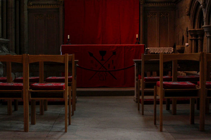 Altar Church Pray Red Absence Chair Cult Curtain Day Empty Indoors  No People Prayer Praying Red Red Color Religion Seat Table