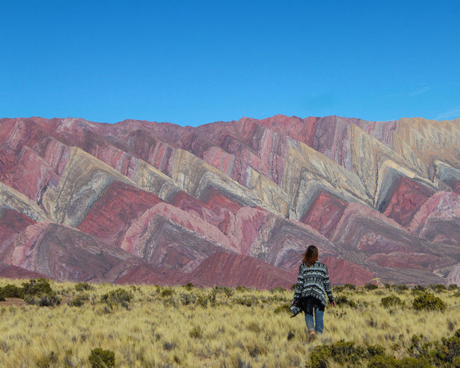 Rear view of person standing on field against clear blue sky and colored mountain