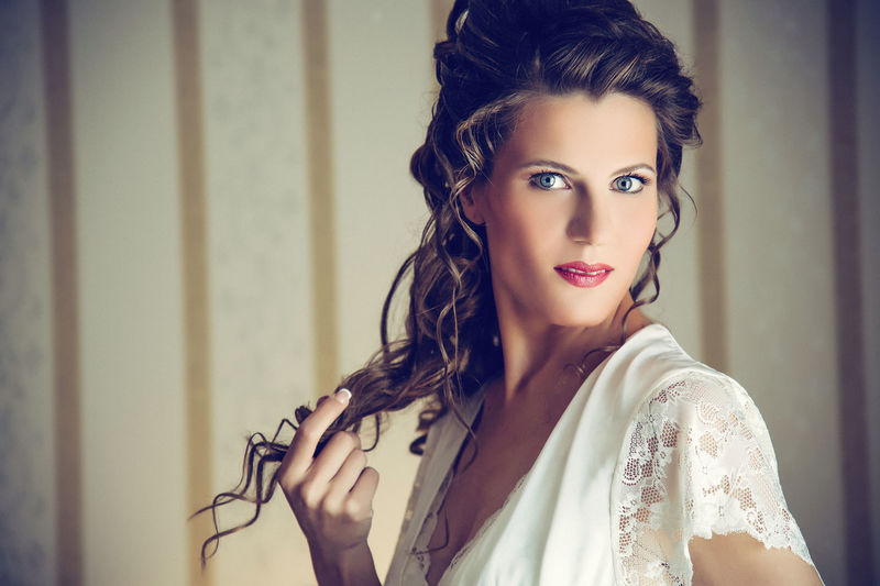 Portrait Of Beautiful Young Bride At Home