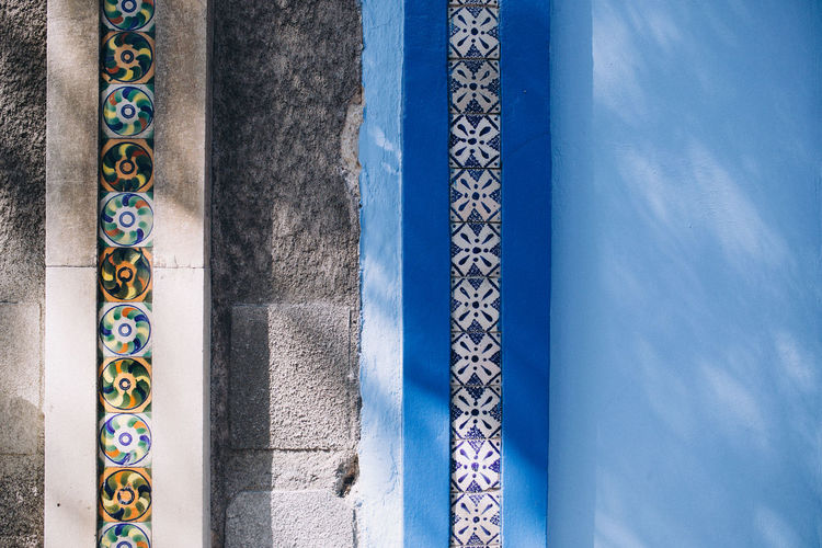 Colourful tiles in geometric shapes on walls in roma district, mexico city, mexico