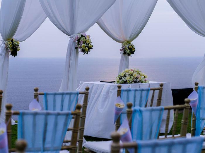 View of beach wedding