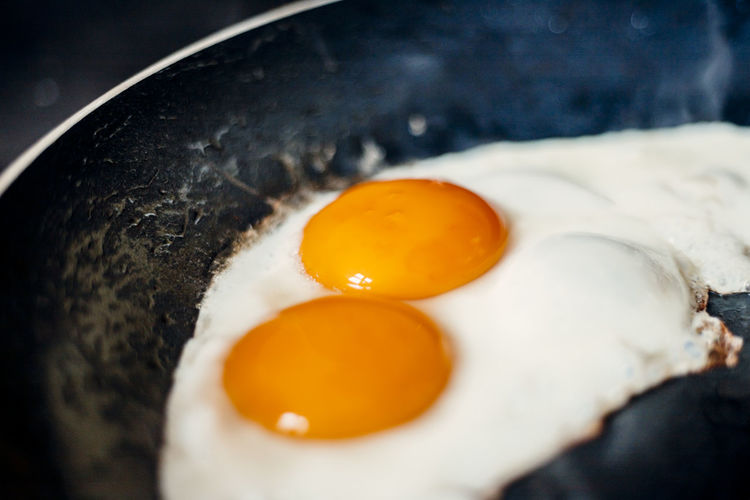 Breakfast Close-up Cooking Pan Egg Egg Yolk Food Food And Drink Freshness Fried Fried Egg Frying Pan Healthy Eating High Angle View Household Equipment Indoors  Kitchen Utensil Pan Preparation  Preparing Food Sunny Side Up Wellbeing