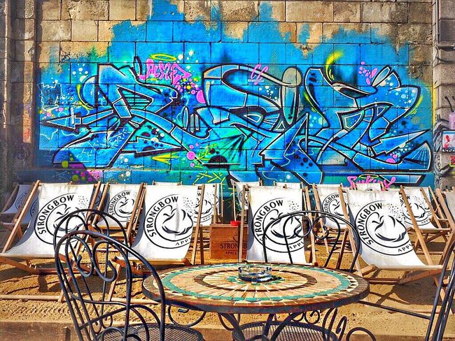 ✨Chill out Zone✨ Streetphotography Graffiti Graffiti Art No People Relaxing Chillout Traveling Capture The Moment EyeEm Gallery ArtWork Fresh On Eyeem  Sand Spray Paint Vienna Austria Europe Great Atmosphere Photography Photo Colorful Aerosolart Art Art, Drawing, Creativity Phantasy Deck Chair
