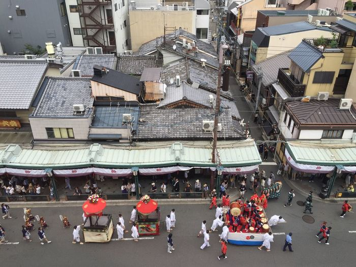 High Angle View Of People Celebrating Festival On Street