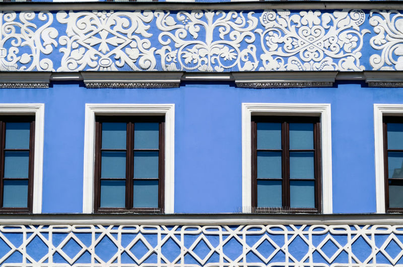Architecture Built Structure Building Exterior Window Building Blue No People Pattern Day Design Text Low Angle View House City Glass - Material Outdoors Residential District Wall - Building Feature Side By Side Closed Window Frame Ornate My Best Photo