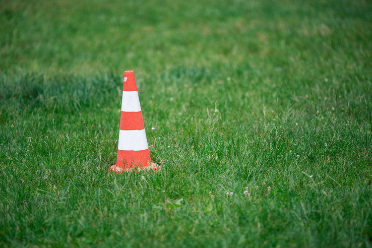 Traffic cone on grass