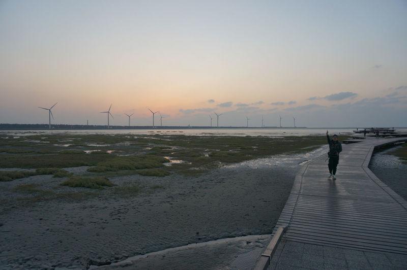 Scenics Sunset_collection Sunset Silhouettes Windmills Beachphotography Beach Shadows
